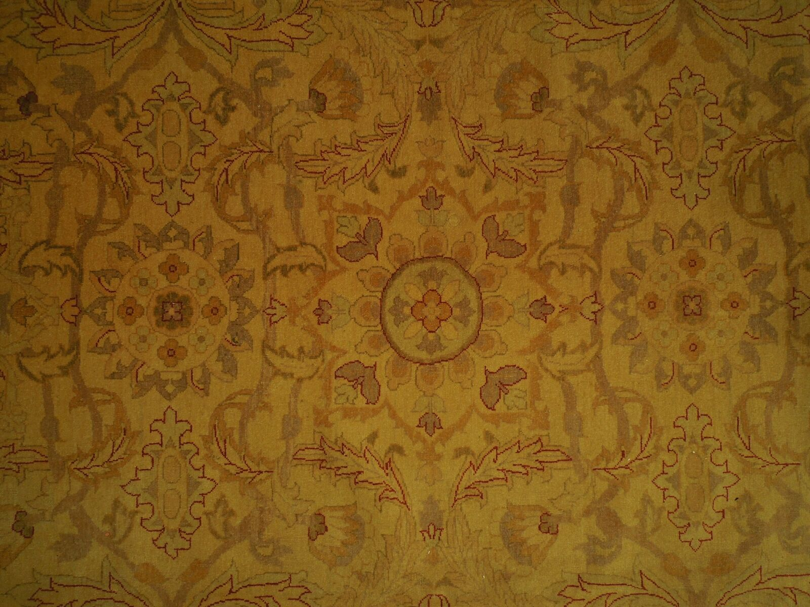 New Vintage Look Perfect Chobi Hand-Knotted 12x18 Beige Oushak Wool Rug image 6