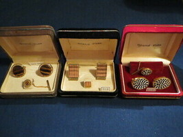 VINTAGE LOT OF 3 GRAND PRIX BY SWANK SETS CUFFLINKS CUFF LINKS WITH TIE ... - $34.99
