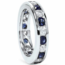 2ct Blue Sapphire & Diamond Channel Set Eternity Ring 14K White Gold - £894.37 GBP