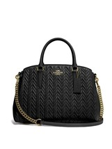 NWT COACH Sage Carryall With Quilting Quilt Black Gold Chain Crossbody F... - $302.94