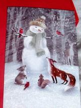NEW Box Of 14 SNOWMAN & ANIMAL FRIENDS CHRISTMAS CARDS Deer Fox Bunny GL... - $15.95