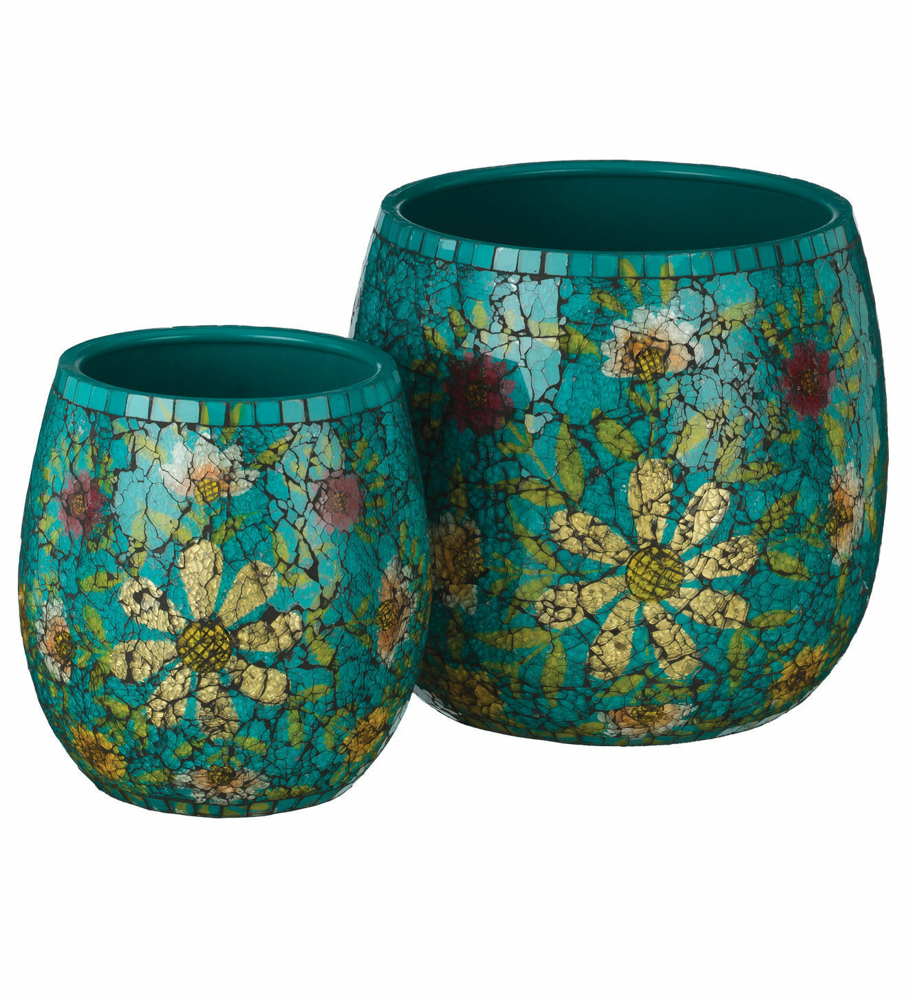 SET/2 TEAL OR WHITE MOSAIC GLASS GARDEN/POOL PATIO FLOWERS POTS PLANTERS