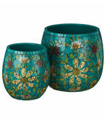 SET/2 TEAL OR WHITE MOSAIC GLASS GARDEN/POOL PATIO FLOWERS POTS PLANTERS - $196.20 CAD