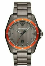 Emporio Armani Sigma 44mm Date Orange Bezel Grey Steel Men's Watch AR11178 - £83.75 GBP