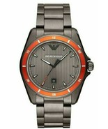 Emporio Armani Sigma 44mm Date Orange Bezel Grey Steel Men's Watch AR11178 - $109.99