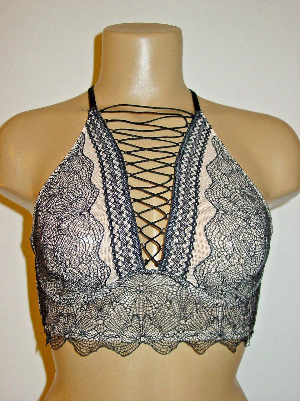 d440a48cf38 Victoria s Secret Very Sexy black bra bralette high neck lace up front-S-NEW