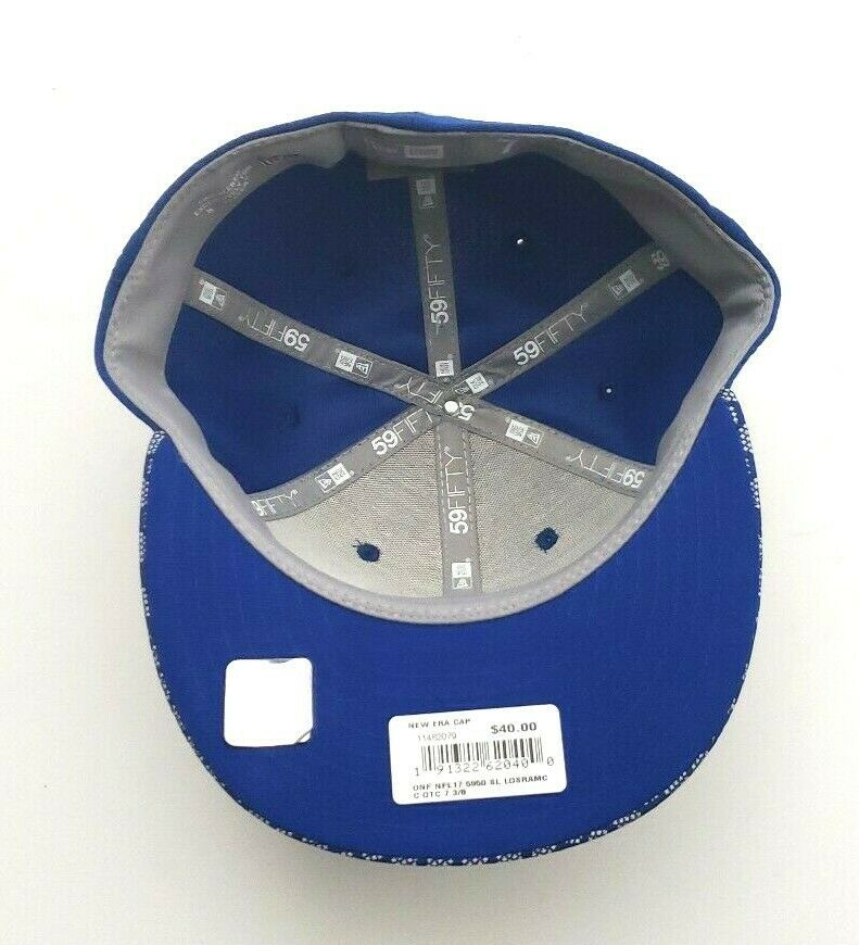 New Era Los Angeles Rams 5950 On Field 2017 Sideline Fitted Hat Blue Size 7 3/8 image 7