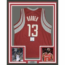 FRAMED Autographed/Signed JAMES HARDEN 33x42 Houston Red Jersey Beckett ... - €536,99 EUR