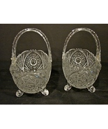 Matching Pair 6 inch Anna Hutte Bleikistall ~ German Footed Crystal Bask... - $16.99