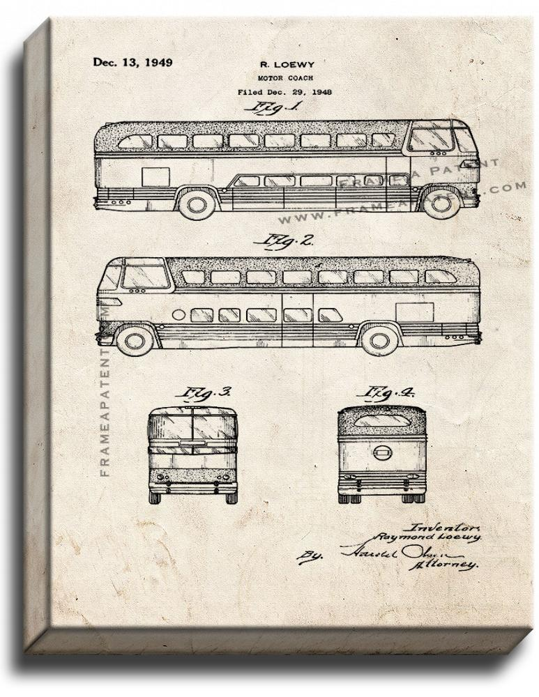 Primary image for Motor Coach Patent Print Old Look on Canvas