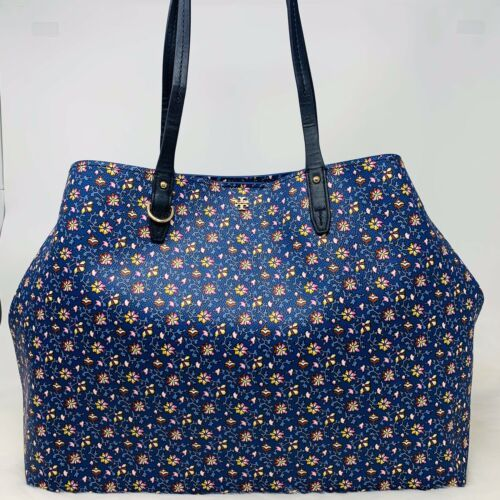 Tory Burch NWT Kerrington Square Tote Leather Blue Wild Pansy $298 Shoulder Bag image 3