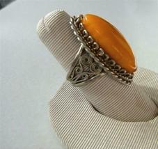 Vintage Bakelite Ring Egg Yolk Butterscotch Amber Silver tone Filigree  ... - $46.53