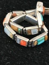 "Sterling  Silver Spiny Oyster Tigers Eye MOP Inlay Link Bracelet 7.5"" 8580 - $588.21"