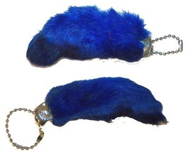 2 BLUE COLORED RABBIT FOOT KEY CHIANS novelty bunny fur hair feet ball c... - $4.47