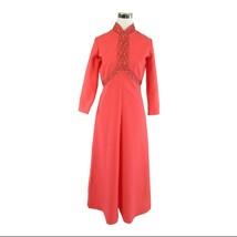 Pink 3/4 sleeve beaded trim vintage A-line dress M - $44.99
