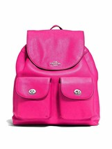 NEW! Authentic! Fuchsia COACH 37410 BILLIE BACKPACK IN PEBBLE LEATHER - $280.04