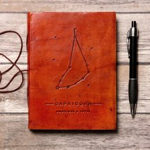 Capricorn Zodiac Handmade Leather Journal - $38.00
