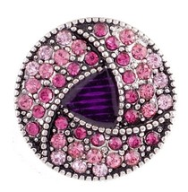 Antiqued Silver Pink Purple Rhinestone 20mm Snap Charm For Ginger Snaps ... - $6.19