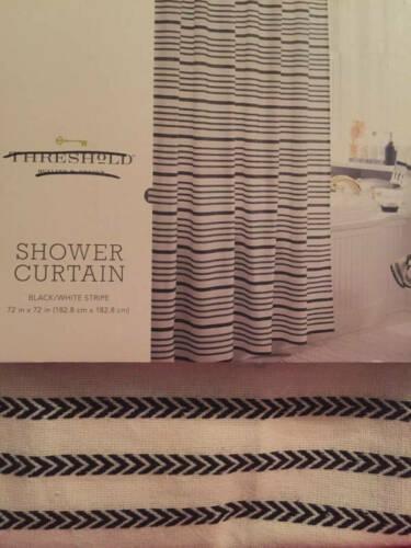 "Threshold Black & White Stripe Buttonhole Top Fabric Shower Curtain 72""X72"" New"