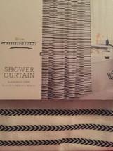 "Threshold Black & White Stripe Buttonhole Top Fabric Shower Curtain 72""X... - $24.74"