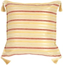 Pillow Decor - Chenille Stripes in Rose, Gold and Cream Throw Pillow - £22.86 GBP