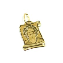 SOLID 18K YELLOW GOLD MEDAL, 17x12 mm, SAINT CHARBEL, PARCHMENT image 1