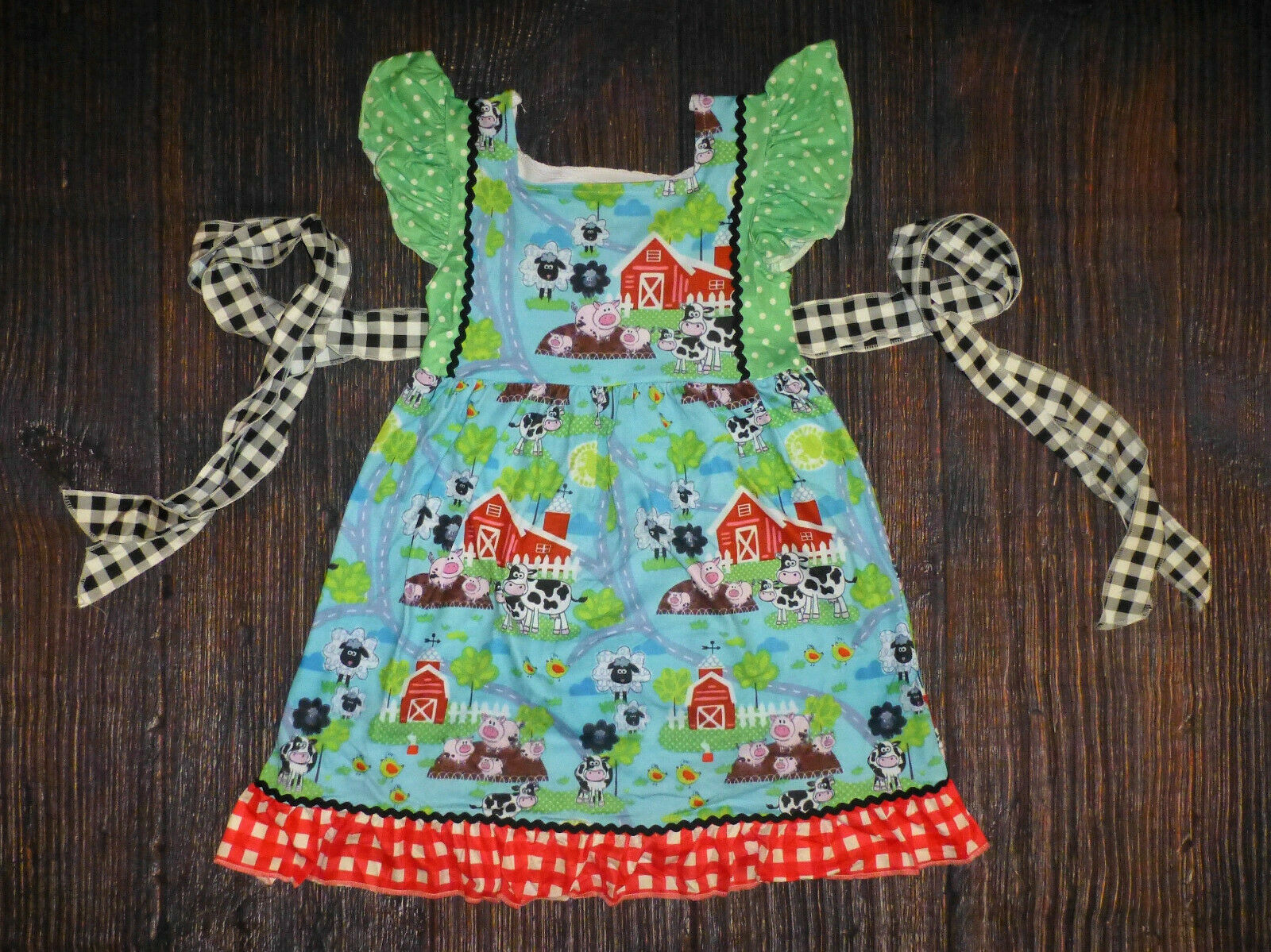 Primary image for NEW Boutique Farm Girls Sleeveless Ruffle Twirl Dress 2T 3T 4T 5-6 6-7