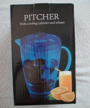 Pitcher with Cooling Cylinder and Infuser Blue Beverage Serving Party Pi... - $15.84