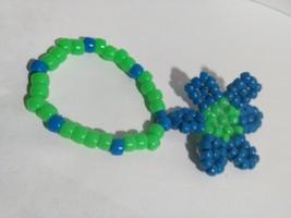 Neon Blue/Neon Green Daisy Charm on Kandi Single Bracelet Seahawks EDM  ... - $4.74