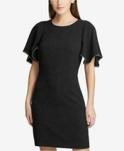 DKNY Women's Flutter-Sleeve Shift Dress Color Black Size 6 - $22.87