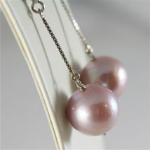 18K WHITE GOLD EARRINGS WITH PURPLE ROUND FRESHWATER PEARLS 13 MM MADE IN ITALY image 3