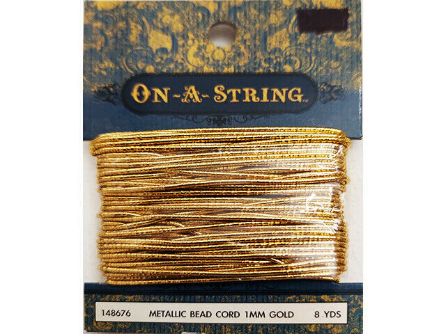 Hobby Lobby Metallic Gold Bead Cord, 1mm, 8 Yards #148676