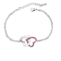 CONNECTED RED HEARTS BRACELET  ****   # 10515   COMBINED SHIPPING ALWAYS - $4.75