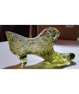 Vintage Fenton Art Glass Shoe Daisy Button Pattern Green Slipper Collect... - $15.67