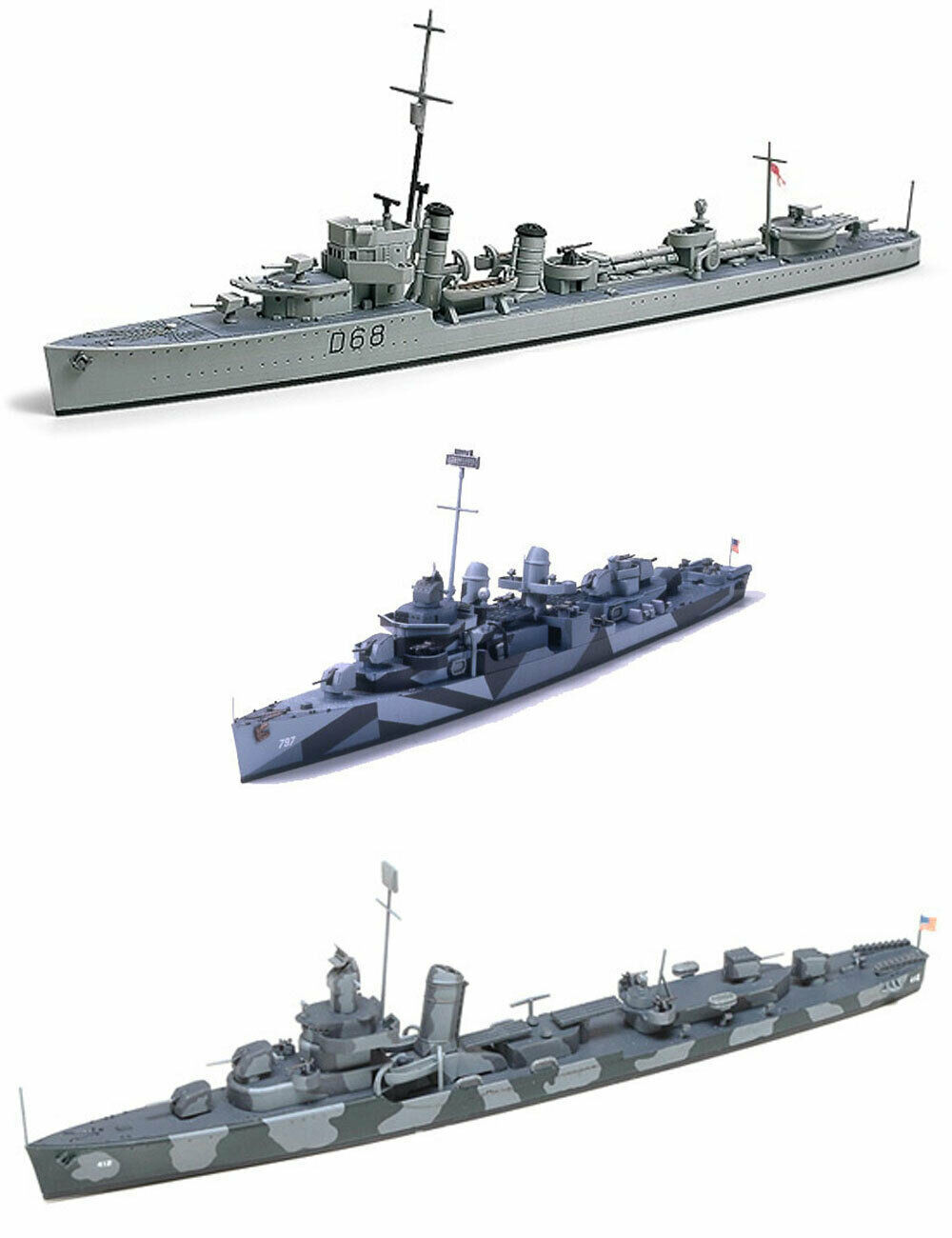 Primary image for 3 Tamiya Models - US Navy Destroyers – DD445 Fletcher, DD-797 Cushing & Hammann