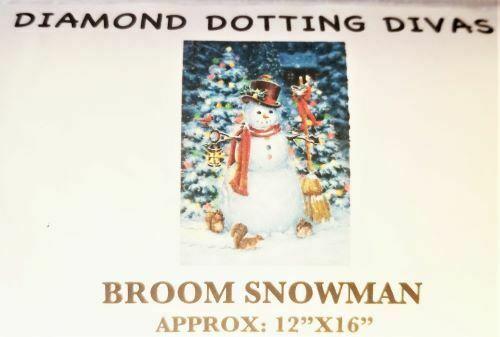 "Diamond Dot Painting Snowman with Broom 12"" x 16"""