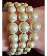 Vintage Mid Century Matte White Faux Pearl 3 Strand Coil Bracelet Adjust... - $20.00