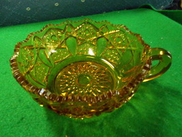 Great Vintage L.E.Smith Glass AMBER NAPPY Sawtooth Rim-Star & Arch Panel... - $9.90
