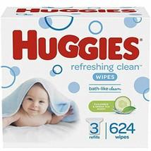 HUGGIES Refreshing Clean Scented Baby Wipes, Hypoallergenic, 3 Refill Packs (624 - $30.89