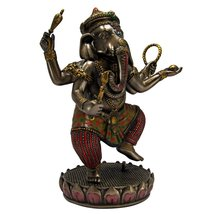 Dancing Ganesha on Lotus Collectible Hinduism Sculpture - £42.00 GBP