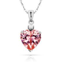3.07Ct White & Pink Heart Sapphire Charm Pendant14K White Gold w/Chain - $68.88+