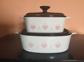 """Vintage Set Of """"Forever Yours """" Casserole Dishes by Corning Ware/ 4 Piece/ 2 Dis - $48.00"""