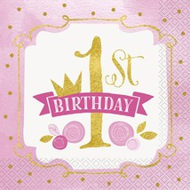 1st Birthday Pink Gold Girls 16 Ct Luncheon Napkins - $3.13