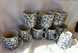 coffee mugs nine Folk Craft by Tienshan Blue Sp... - $15.83