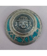 Mexico 925 Sterling Silver Turquoise Inlay Aztec, Mayan Brooch, Pin, Pen... - $95.00