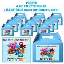 POCOYO Party Favor Boxes Thank you Decals Stickers Loots Party Candy 12PC ELY NW - $26.68