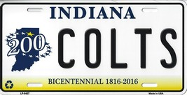 Colts Indiana State Background Metal License Plate Tag (Colts Bicentennial) - $11.95