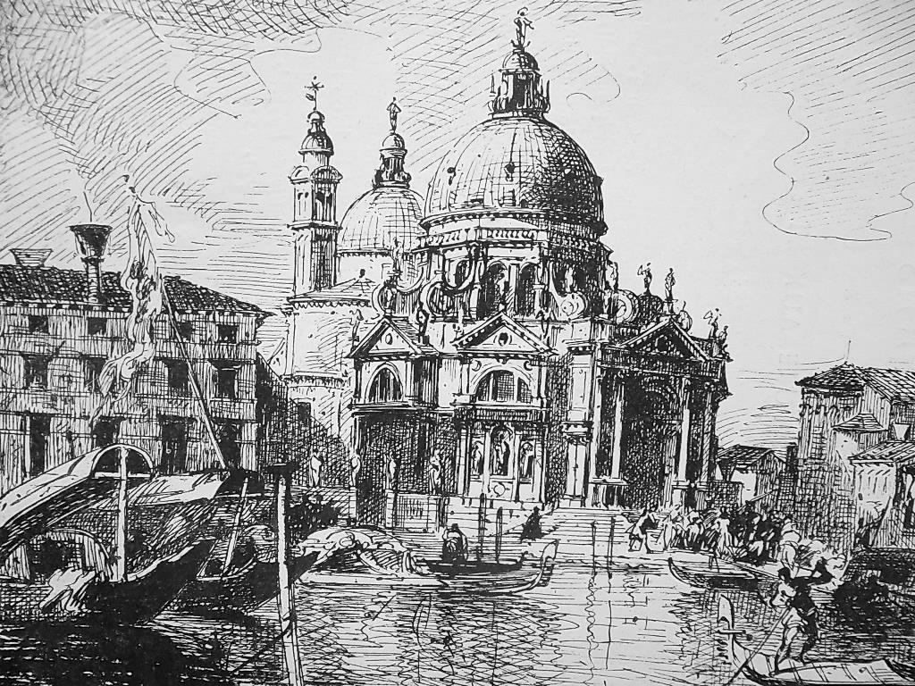 VENICE Santa Maria della Salute Italy Grand Canal - 1876 Antique Print