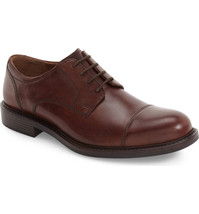 JOHNSTON & MURPHY Tabor Cap Toe Derby Leather Brown, Size 8.5 - $87.99