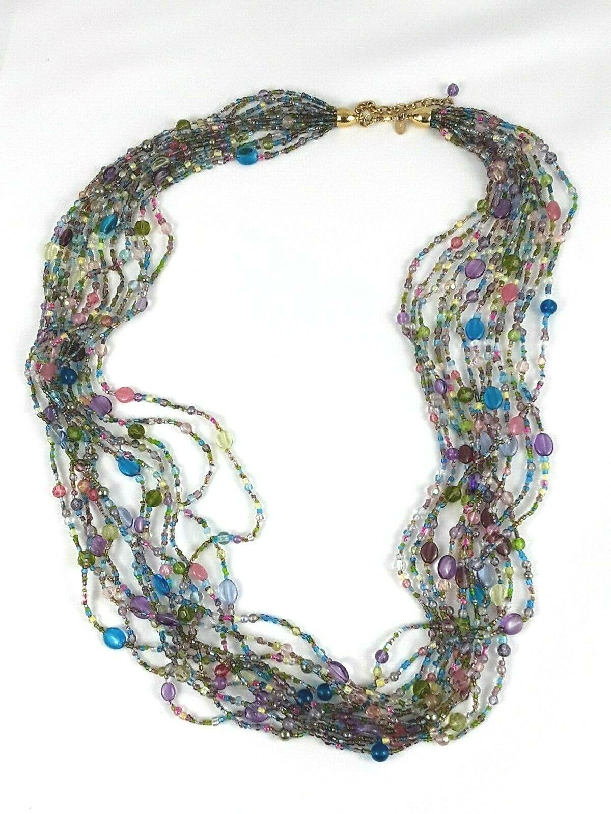 "JOAN RIVERS Blue Green Pink Multi Strand Torsade 40"" Beaded Necklace EUC image 4"
